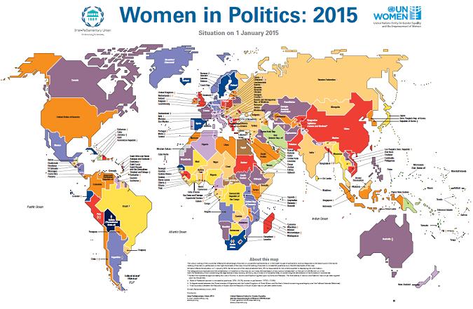 أصدرت منظمة الأمم المتحدة المعنية بالمساواة بين الجنسين وتمكين المرأة والاتحاد البرلماني الدولي خارطة المشاركة السياسية للنساء في العالم لنهاية عام 2014