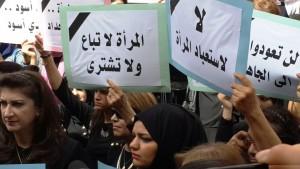 تظاهرة مناهضة لاستغلال النساء في النزاعات