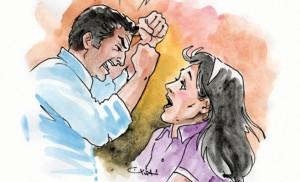 رسم تعبيري يمثل إحدى حالات العنف ضد المرأة