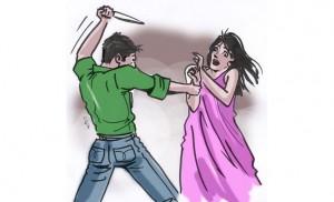 رسم تعبيري يمثل جريمة بحق امرأة بريشة إحسان حلمي