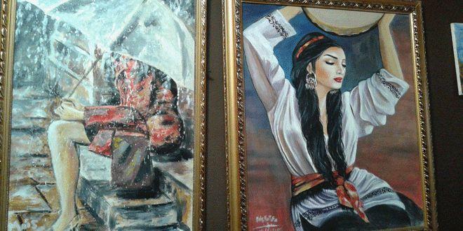 """لوحات مشاركة في معرض """"الشمعدان"""" الثالث باللاذقية - سانا"""