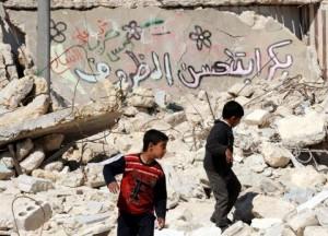 منطقة مدمرة في إحدى المدن السورية 2016