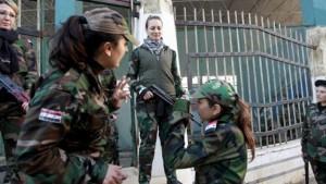مقاتلات في قوات الدفاع الوطني السورية الموالية للنظام