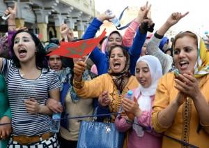 نساء مغربيات يتظاهرن في الثامن من اذار/مارس 2015 في الرباط للمطالبة بالمساواة بين الجنسين/ أ ف ب