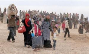 لاجئون سوريون على الحدود الأردنية