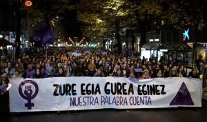 مظاهرات احتجاجاً على العنف ضد المرأة في مدينة بلباو الإسبانية