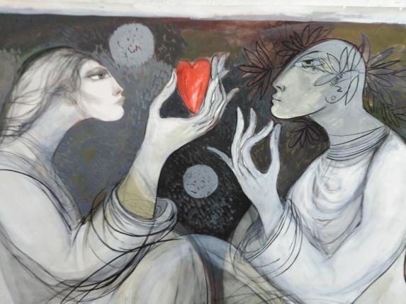 """لوحة """"اللقاء الأزلي""""/الفنان سعد علي"""