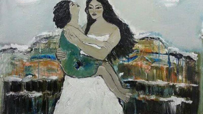 أحلام لا محدودة بامرأة سورية حرة/ لوحة تشكيلية للفنانة رولا حمزة
