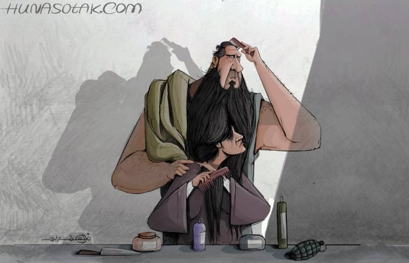 حينما يتم تغليف المرأة بقالب رجلها، بريشة مرهف يوسف/ موقع هنا صوتك