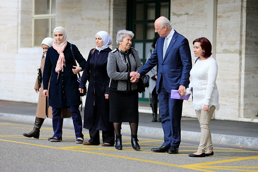 U.N. mediator for Syria Staffan de Mistura meets a group of women whose family members have either been detained by Syrian authorities or abducted by armed groups, or simply missing