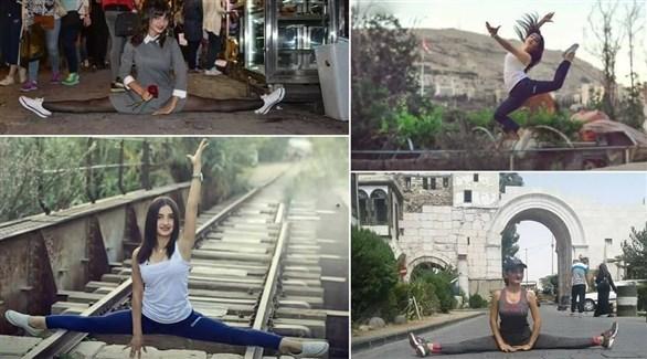 الشابة يارا خضير تؤدي بعض حركات رقص الباليه