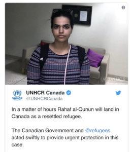 العودية رهف القنون تحصل على اللجوء إلى كندا