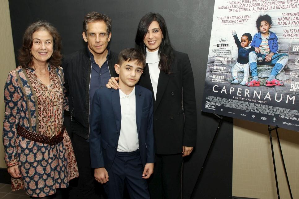 زين الرافعي ونادين لبكي، خلال عرض فيلم كفرناحوم في مكتب مفوضية اللاجئين في نيويورك 2018