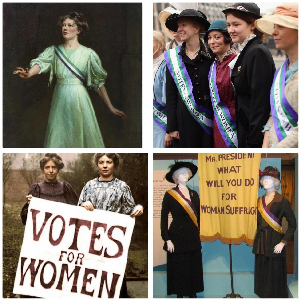 استخدام الألوان سنة 1900 للمطالبة بحقوق المرأة