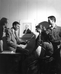 The poet Paul Engle with a group of Iowa Writers' Workshop students in the 1950s. (Frederick W. Kent Collection/University of Iowa Libraries)