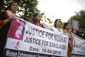 مظاهرات ضد مقتل فتاة بنغلاديشية/ AP