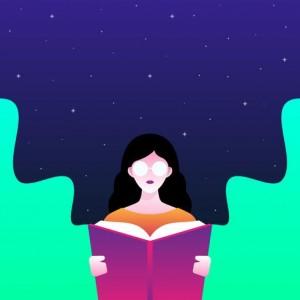 Girl is reading Book/illustration