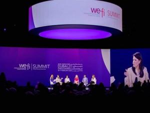 رانيا المشاط، وزيرة التعاون الدولي، خلال فعاليات منتدى المرأة بدبي