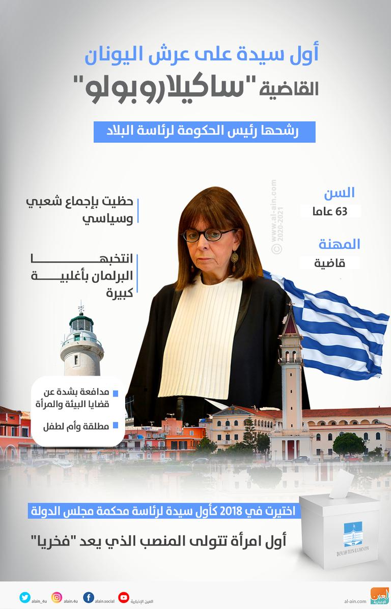 أول رئيسة لليونان.. قاضية تهتم بشؤون المرأة والبيئة