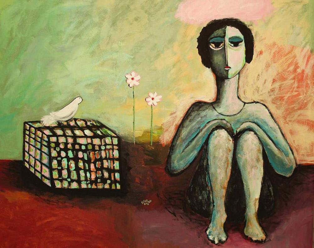 لوحة للفنانة تغريد البقشي