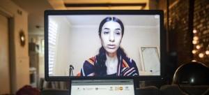 نادية مراد، الحائزة على جائزة نوبل للسلام ورئيسة مبادرة ناديا تتحدث في اجتماع تعزيز الالتزامات لمنع العنف الجنسي والعنف القائم على النوع الاجتماعي في الأزمات الإنسانية والاستجابة له والحماية منه.