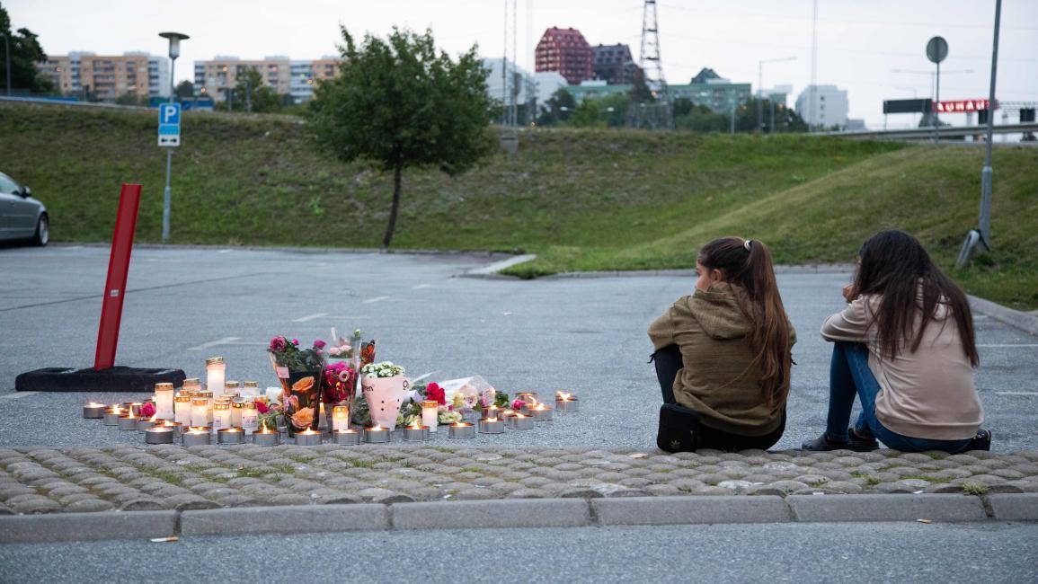 في موقع جريمة قتل على مقربة من استوكهولم (علي لرستاني/ فرانس برس)
