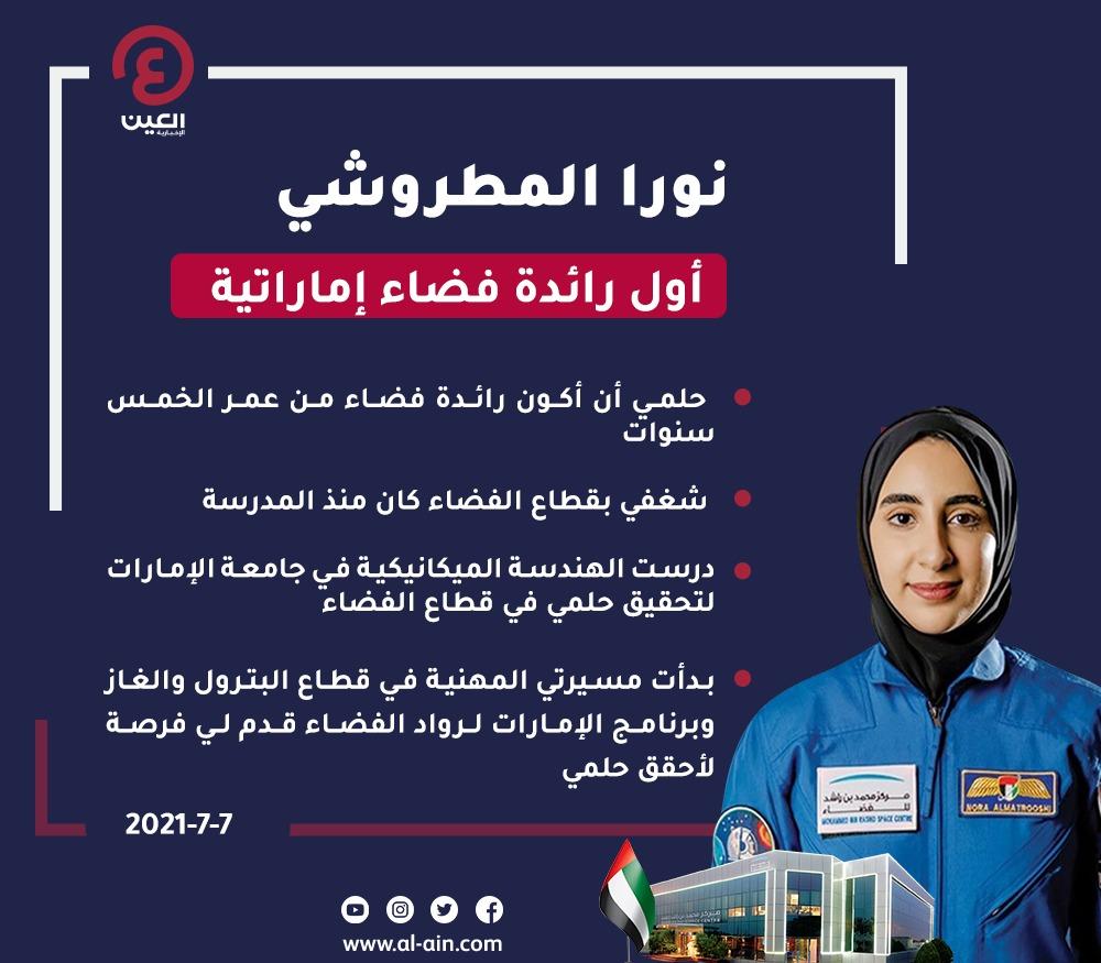 نورا المطروشي أول رائدة فضاء إماراتية وعربية