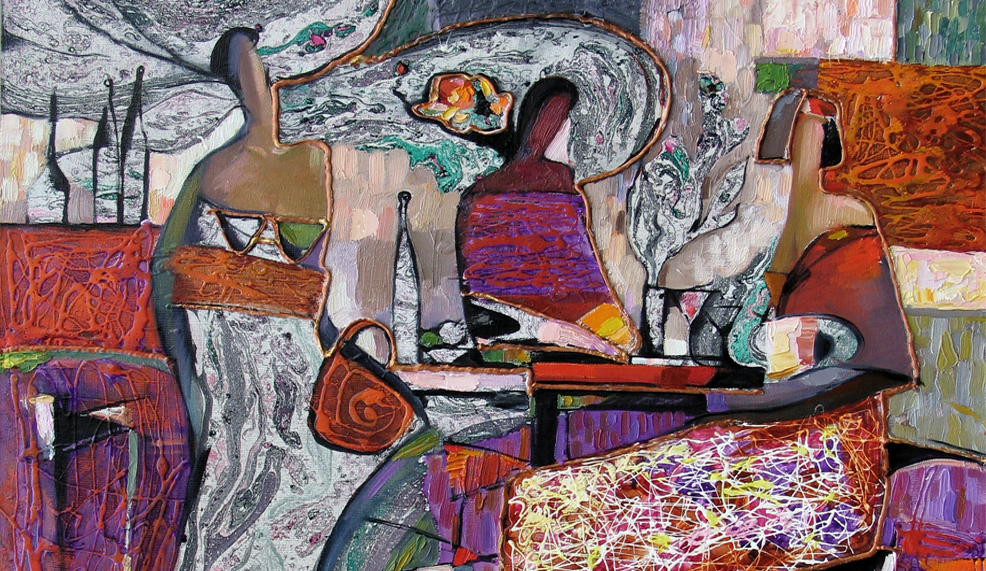 Abstract painting. the girl in the cafe